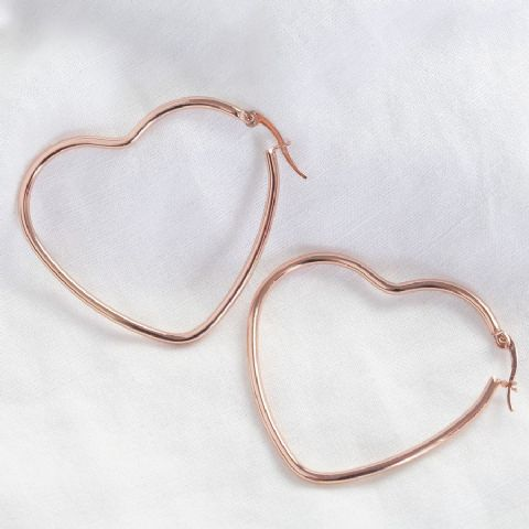 LARGE ROSE GOLD HEART EARRINGS